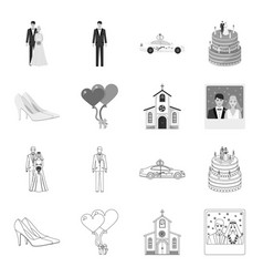 wedding and attributes outlinemonochrome icons in vector image