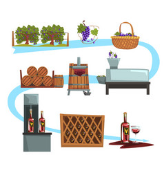 Wine production process stages production vector