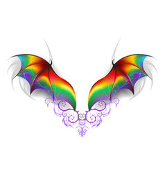 Wings of rainbow dragon vector