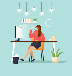 Woman sits at computer on a white background vector