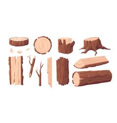 Wood materials cartoon lumber log and tree trunk vector