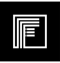 F capital letter made of stripes enclosed in a vector image vector image