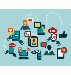 flat communication icons vector image