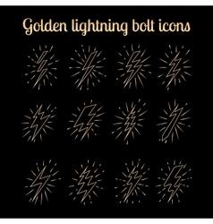 Golden thin line lightning bolts set vector image vector image