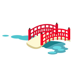 japanese arched garden bridge across pond vector image vector image