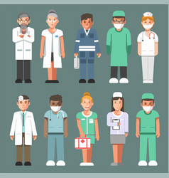 medical staff in uniforms isolated cartoon vector image vector image