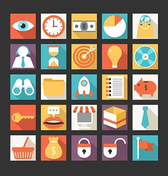 Set of business icons in flat design style vector image