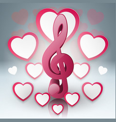 music hearts valentines day treble clef icon vector image