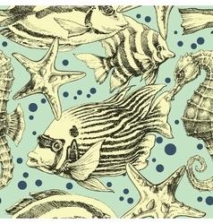 Underwater seamless pattern vintage style vector image vector image