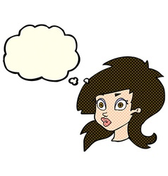 cartoon pretty surprised woman with thought bubble vector image vector image