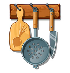 cutting board colander knife kitchen implements vector image