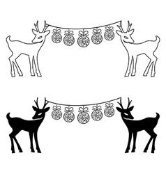 Deers Christmas balls set silhouettes vector image