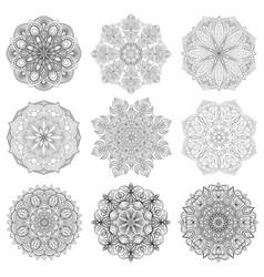 set of 9 hand-drawn arabic mandala on white vector image vector image