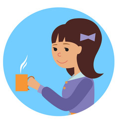 woman with cup in her hand drinking hot coffee vector image