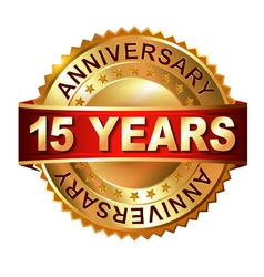 15 years anniversary golden label with ribbon vector image vector image