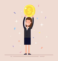 businesswoman or manager holds a gold coin over vector image vector image