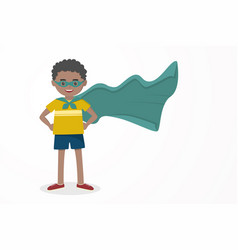 cute kid happy boy wearing a hero mask and cloak vector image
