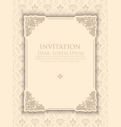 invitation or wedding card with floral background vector image