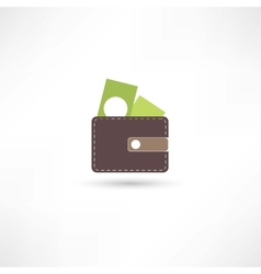 purse and green money vector image