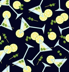 Seamless pattern with a glass of martini with vector image