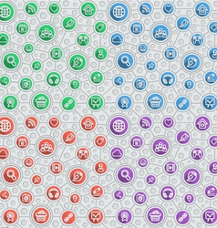 Social Networking Flat Outline Pattern vector image