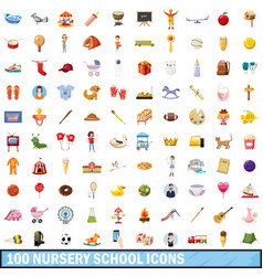100 nursery school icons set cartoon style vector