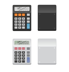 2 Calculators - front and back vector image