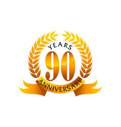 90 years ribbon anniversary vector