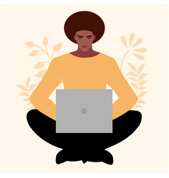 african young man sitting comfortably vector image