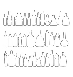 alcohol bottles silhouettes vector image
