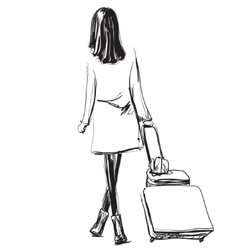 Art sketching beautiful young travel woman vector