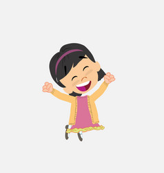Asian girl jumping for joy vector