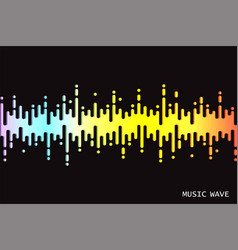 Audio colorful wave logo on black 3d rainbow vector