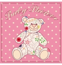 Baby shower with bear toy vector image