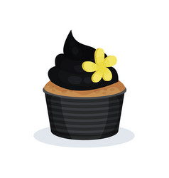black cupcake sweet dessert on vector image