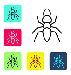 Black line ant icon isolated on white background vector