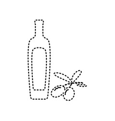 Black olives branch with olive oil bottle sign vector