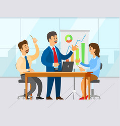 boss with workers in office man with presentation vector image