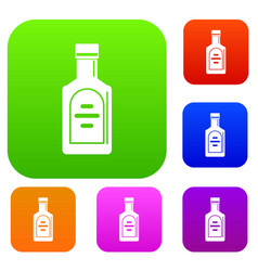 bottle of whiskey set color collection vector image