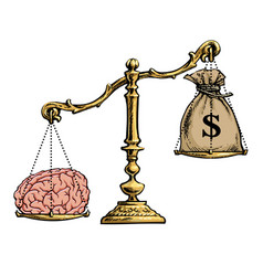 brain overweight money on golden scales vector image