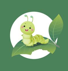 cartoon caterpillar chewing green leaf vector image