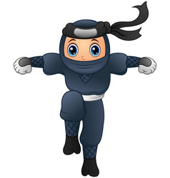 cartoon ninja running vector image