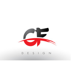 Cf c f brush logo letters with red and black vector