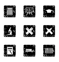 Children education icons set grunge style vector