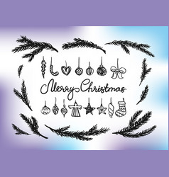 christmas new year design elements vector image