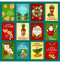 Christmas winter holiday greeting card set vector