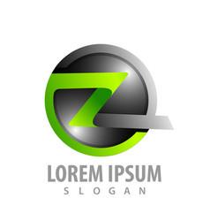 circle letter z ribbon logo concept design symbol vector image