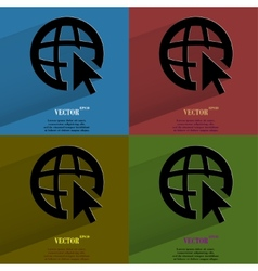 Color set globe Flat modern web button with long vector image