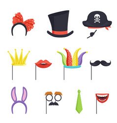colorful set with various carnival accessories vector image