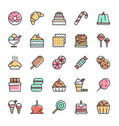 colorful sweet dessert line icons vector image